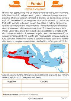I Fenici: Schede didattiche per la Scuola Primaria | PianetaBambini.it Homeschool, Education, Montessori, Learning, Studio, Socialism, Geography, History, Rome