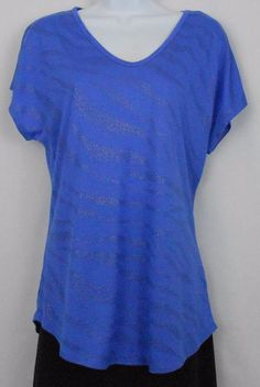 Apt. 9 Top Size M Blue Rayon Poly Cap Sleeve V Neck Embellished Shirt Womens  - Embellishment accents add a bit of sparkle to this womens  rayon and polyester-blend cap sleeve v-neck knit top.
