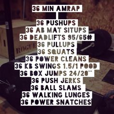 CrossFit Workout. Complete all in 36 minutes and repeat until time is out. #crossfit #workout #fit