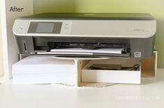 Create A DIY Desktop Printer Shelf Using IKEA Magazine File Holders!