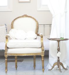 White and Gold French Chair