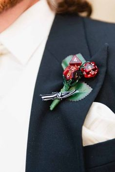 Groom wants boutonnieres that have D&D dice (I can provide these)