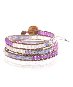 Look what I found on #zulily! White & Purple Japanese Seed Bead Leather Wrap Bracelet #zulilyfinds