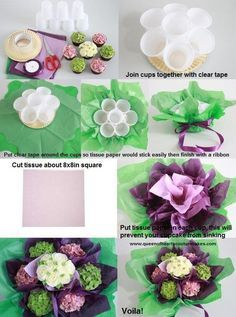 How to Make Simple Cupcake Bouquet - Queen of Hearts Couture Cakes Elegant Cupcakes, Floral Cupcakes, Floral Cake, Cupcake Flower Bouquets, Flower Cakes, Chocolate Flowers Bouquet, Cupcake Gift, Cupcake Ideas, Cupcake Tutorial