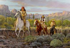 Western Artist Ron Stewart Oil Painting Evening by CulturalPatina