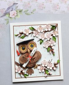 Owl w/Graduation Cap & Diploma + Flowers on Branches