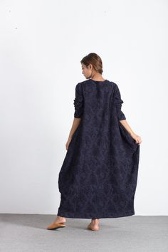 Women's Long maxi dress linen cotton pullover winter warm by Youga