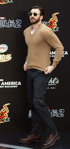 Chris Evans   He's on fire <3<3<3 -B.R.