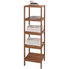 """Bamboo tower with five open shelves.   Product: Shelf tower   Construction Material: Bamboo   Color: Bamboo  Features: Five open shelves Dimensions: 53.5"""" H x 13"""" W x 14.5"""" D"""