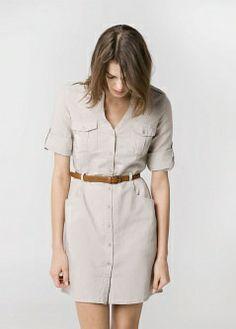 Buy Light Beige Mango Linen Blend Shirt Dress from our Women's Dresses Offers range at John Lewis & Partners. Casual Dresses, Short Dresses, Casual Outfits, Fashion Dresses, Vestidos Safari, Safari Dress, Office Looks, Sweet Dress, Dress Me Up