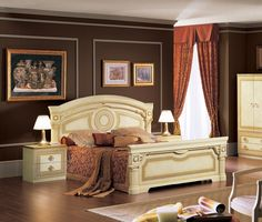 Aida Traditional Bed in Ivory/Gold by ESF