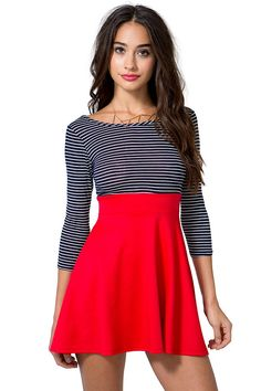 3/4 Sleeve Stripe Flare Dress