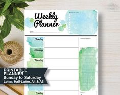 Printable Planners, Magnetic Whiteboards & Calendars by StickWithSam Best Weekly Planner, 2018 Planner, Goals Planner, Day Planners, Happy Planner, Weekly Agenda, Planner Ideas, Daily Printable, Weekly Planner Printable