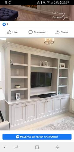 Built In Shelves Living Room, Feature Wall Living Room, Living Room Wall Units, Living Room Redo, Living Room Lounge, Bookshelves Built In, Home Living Room, Living Room Designs, Bookcase