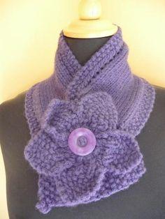 Knitted purple neckwarmer  knitted scarf.  Knitted scarf with flower.  Flower scarf.  Knitted Flower scarf by yarnawayknits for $35.00