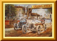 """""""The Greatest Grand Prix""""  Christian Lautenschlager's Mercedes leading George Boillot's Peugeot in the 1914 French Grand Prix."""