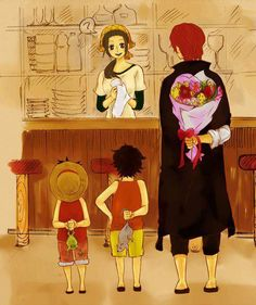 Makino's admirers~ Too cute. Luffy, Ace and Shanks One Piece One Piece Manga, One Piece Ace, One Piece Funny, One Piece Ship, One Piece Fanart, Otaku Anime, Manga Anime, Film Manga, Anime Naruto