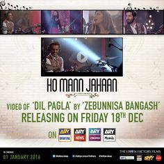 Ho Mann Jahaan's song Dil Pagla by Zebunnisa Bangash will be released on Friday, 18th December on all ARY channels