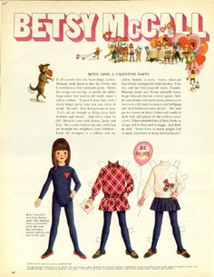 Vintage February 1969 Magazine Paper Doll Betsy McCall Gives a Valentine Party