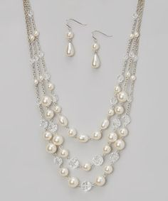 Look at this #zulilyfind! Silver & Pearl Triple-Strand Necklace & Drop Earrings by C.O. International #zulilyfinds