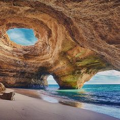 The Algarve is the southern section of #Portugal known for incredible weather, scenery and caves such as this, diving and surfing. A short drive from Faro airport or easily accessible by boat, the region is often frequented by celebrities.