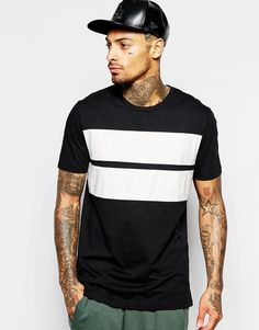 ASOS+Longline+T-Shirt+With+Crocodile+Print+Leather+Look+Panels+In+Relaxed+Fit
