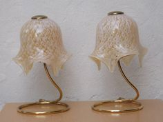 I Like Mike's Mid Century Modern - PAIR MURANO HAND MADE GLASS HANDKERCHIEF FLORAL GOLD WHITE DRESSER LAM