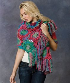 Crochet Lorelei Shawl Free Crochet Pattern in Red Heart Yarns