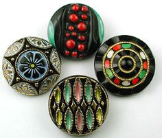 4 Vintage Black Glass Buttons Various Designs w Painted Accents | eBay