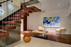 suspended wood stairs