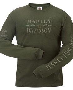 Harley Davidson Mens Distressed Letters Olive Green Long Sleeve Pocket T Shirt | eBay #harleydavidsongifts