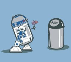 Love knows no boundaries... THIS IS TOTALLY WHY WE BOUGHT A TRASH CAN THAT LOOKS LIKE R2D2! So he could fall in love.