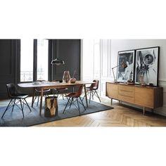 Chaise en cuir et métal noire Austerlitz | Maisons du Monde