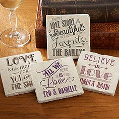 "OMG!! I LOVE LOVE LOVE these personalized ""Love Quotes"" Stone Coasters! The sayings and the designs are so pretty! These would make a great wedding gift because you can personalize them with the couple's names! ...I want some for my house! #Coasters #Wedd"