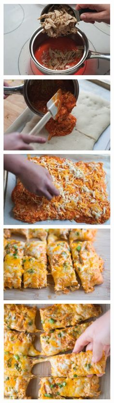 Buffalo Chicken Pizza Sticks via Inspired Taste