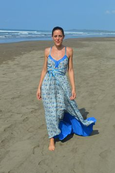 Spangled ocean blue Liberty queue for the zoo 2014 long backless dress