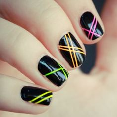 Black is classic! Black nail art designs can instantly add glamour to your look. The best thing about painting your nails black. type of black nail art 2018 Neon Nail Art, Neon Nails, Love Nails, Pretty Nails, 80s Nails, Gorgeous Nails, Jewel Nails, Simple Nail Art Designs, Best Nail Art Designs