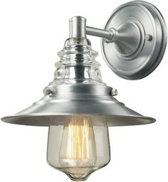 0-013501>Insulator Glass 1-Light Wall Sconce Brushed Aluminum