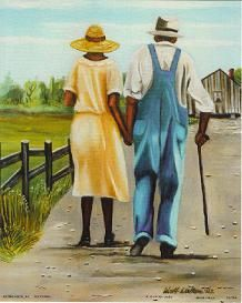 "Black Church & Art-Black Art- Reminds me of grandpa and grandma working on our farm and raising up generations of independent children and grandchildren! -""Down Home"" by Walker"