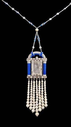 Platinum Lapis Pearl Diamond Necklace