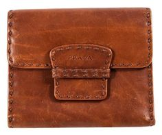 70f70a3b00b9 GB1029908K Prada Brown Leather Flap Over Wallet Brown leather with thick  brown stitching. Flap Over. Tradesy