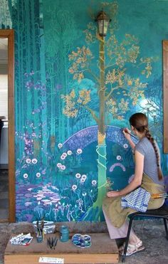Wall murals painted chinoiserie 43 Ideas for 2019 Life In Russia, Fantasy Landscape, Fantasy Art, Spring Landscape, Fantasy Forest, Mural Art, Chinoiserie, Fairy Tales, Fairy Land