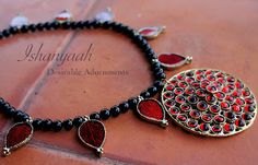 Ishanyaah: Black Onyx and Red in Antique Finish