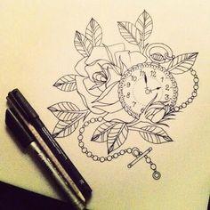 Rose pocket watch tattoo