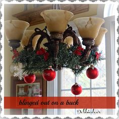 Holiday decorating from the Dollar Store - this will work great with the new chandelier.