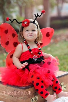 Dressed as a ladybug