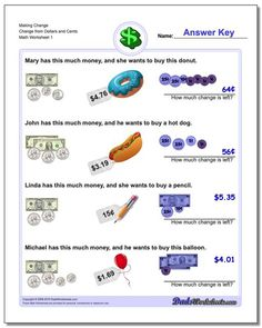 Making change worksheets for grade school kids to practice working with money. Free printable PDFs with realistic money and answer keys. Free Printable Math Worksheets, Money Worksheets, Making Change Worksheets, Counting Coins, Play Money, Reading Comprehension Worksheets, Basic Math, Make A Change, Math Facts