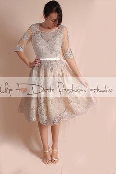 Party / Cocktail / evening/ short /alencon lace dress/ 3/4  Sleeves /open back/  ekryu dress