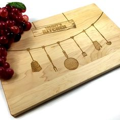 Cutting Board Personalized Wedding Gift Birthday Gift Bunting Kitchen Tools Spoons Home Chef Name chopping block Laser Engraved Home Gift