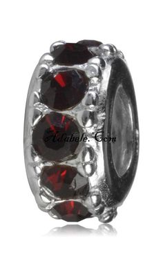 This beautiful garnet January birthstone .925 Sterling Silver European charm fits Pandora, Biagi Trollbeads, Chamilia, and most charm bracelets find out more at adabele.com